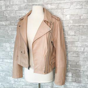 Walter Baker Juls Lambs Leather Blush Moto Jacket